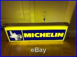 VTG AD MICHELIN MAN TIRE DOUBLE SIDED 36 LIGHTED METAL SIGN WORKS Yellow Blue