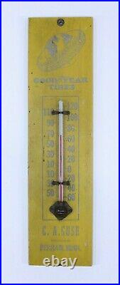 VTG Goodyear Tires Thermometer Gas Oil Advertising Antique Wood Perham MINN Sign