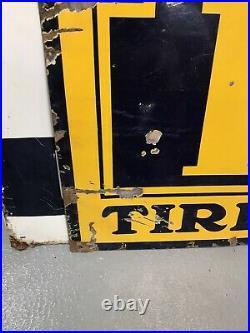 Very Large Vintage Fisk Tires Tubes Porcelain Sign