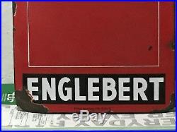 VinTagE Original ENGLEBERT TIRE SIGN SSP PORCELAIN Gas Oil Auto Car Truck OLD