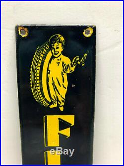 Vintage 10x3 Porcelain Enamel Fisk Tires w Baby Boy Metal Door Push Pull Sign
