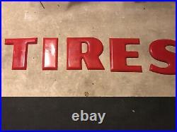 Vintage 12 Porcelain Gas Oil Garage Station Sign Letters Words TIRES
