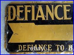 Vintage 1920's Defiance Tires Gas Station 20 Embossed tin metal Sign antique