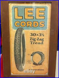 Vintage 1920s Lee Tires Co. Store Sign Advertising Countertop Easel-back Antique