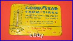 Vintage 1930's Goodyear Farm Tires Metal Thermometer Embossed Pella, IA