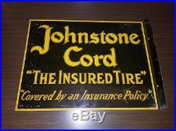 Vintage 1930's Johnstone Cord Tires Gas Station 2 Sided 18 Metal Flange Sign