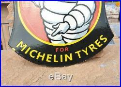 Vintage 1930's Old Antique Very Rare Michelin Tire Ad. Porcelain Enamel Sign