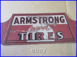 Vintage 1930s Armstrong Insured Tire Metal Sign Gas Station Oil