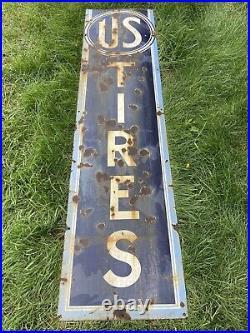Vintage 1930s US Tires Porcelain Metal Sign