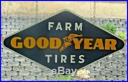 Vintage 1940s Goodyear Farm Tires Sign, Gas Oil, John Deere 48 x 25