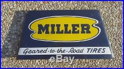 Vintage 1940s Miller Tires Display Rack Metal Sign Gas Station Oil Tire Lot #2