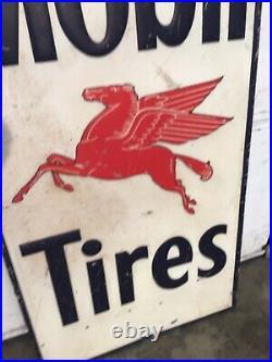 Vintage 1948 Mobil Mobilgas Tires Pegasus Gasoline Oil Sign