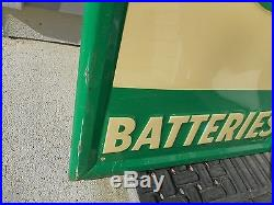 Vintage 1949 CITIES SERVICE TIRES BATTERIES Vertical Advertising Oil Metal SIGN