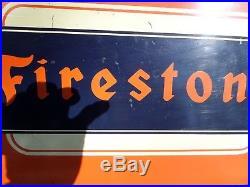 Vintage 1950's Firestone Tires Tire Gas Station Oil 19 Metal Sign
