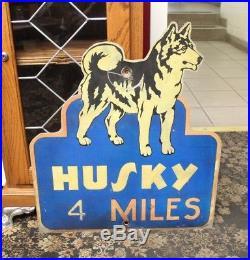 Vintage 1950s HUSKY Tire Montana Reflector Road Aluminum Sign Husky Tire 4 Miles