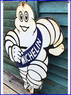 Vintage 1950s Michelin Man Motor Dealership Porcelain Advertising Sign Car Tyre