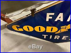 Vintage 1951 Porcelain Double Sided Goodyear FARM TIRES Sign GAS OIL FEED COLA