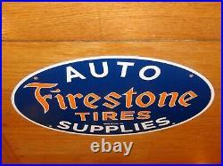 Vintage 1953 Firestone Tires 16.5 X 11 Porcelain Metal Tire, Gasoline Oil Sign