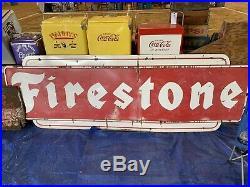 Vintage 1956 Porcelain Firestone Sign 10 Foot GAS OIL TIRES