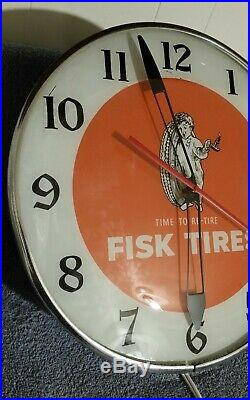 Vintage 1957 Fisk Tires Clock Pam Clock Original