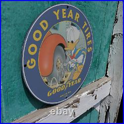 Vintage 1957 Goodyear Tire & Rubber Co.'Donald Duck' Porcelain Gas & Oil Sign