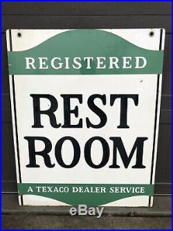 Vintage 1958 TEXACO RESTROOM gas oil auto tire sign Not Porcelain