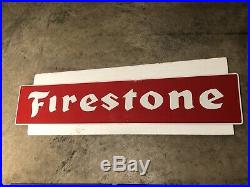 Vintage 1960's-1970's FIRESTONE TIRE SIGN Embossed 48 NOS