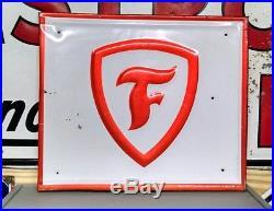 Vintage 1960's Firestone Tires Gas Station Embossed Metal Sign