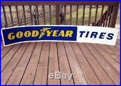 Vintage 1960's GOODYEAR TIRES Metal Dealer Advertising Sign8' Long! Rare! Nice