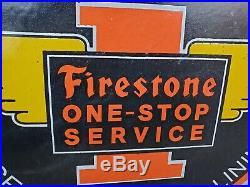 Vintage 1962 Firestone Tires One-stop Service Porcelain Metal Sign! Spark Plugs