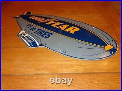 Vintage 1962 Goodyear Tires Blimp Zeppelin 25 Porcelain Metal Gasoline Oil Sign