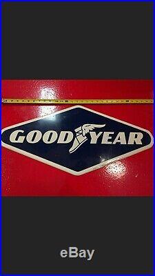 Vintage 1963 Goodyear Tires Chevrolet Ford Mopar Gas Station 28 Metal Sign