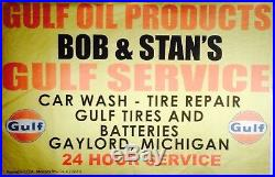 Vintage 1968 Bob & Stan Gulf Gas Oil Tire Station Banner Sign Gaylord Michigan