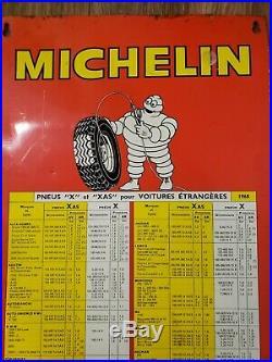 Vintage 1968 French Michelin Metal/Tin Tire Chart Sign BIB Original, garage art