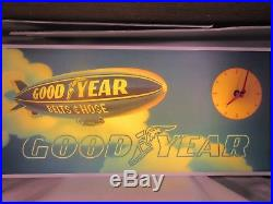 Vintage 1970's Goodyear Belts & Hose Tires Blimp Gas Oil 25 Lighted Clock Sign