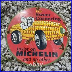 Vintage 1972 Michelin Tires Porcelain Metal Auto Part Corn Farming Gas Oil Sign