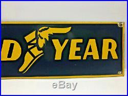 Vintage 24x7 Porcelain Enamel Goodyear Tires Metal Dealer Sign