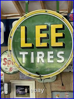 Vintage 36 Lee Tires Neon Porcelain Sign Gas Oil Extremely Rare
