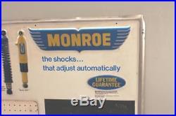 Vintage 36 Monroe Shocks Metal Sign Shock Absorbers Suspension Tires Gas Oil