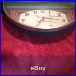 Vintage 40's Era Art Deco Atlas Tires Battery Clock Sign Standard Oil Gas Rare