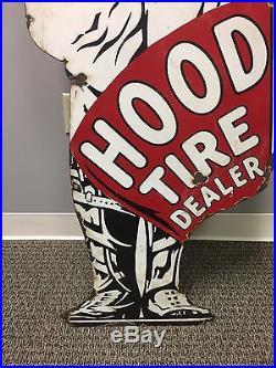 Vintage 6ft Hood Tire Dealer Porcelain Sign RARE Gas Oil Dealership