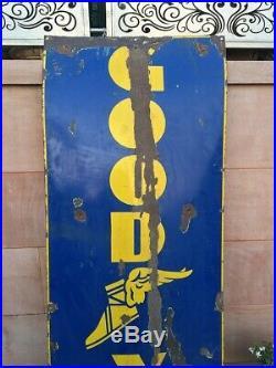 Vintage 72'' Big Oil Gas Station Good Year Tyre Adv Enamel Porcelain Sign Board
