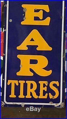 Vintage 8' Porcelain Goodyear Vertical Sign Gas Oil Tires Auto Advertising L@@K