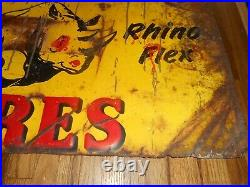 Vintage ARMSTRONG RHINO FLEX TIRES GAS STATION OIL Tin Advertising SIGN
