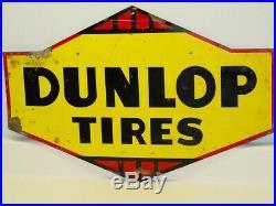 Vintage Advertising Dunlop Tires Metal Sign, Original