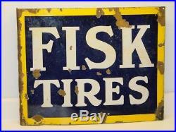 Vintage Advertising Flange Sign Fisk Tires, Original, Porcelain