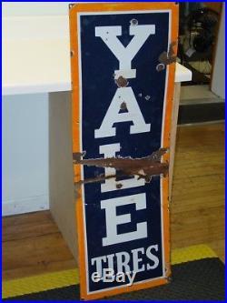 Vintage Advertising Gas Oil, Sign, Yale Tires, Original, Porcelain, 46 X 16