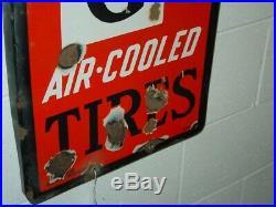 Vintage Advertising Seiberling Air Cooled Tires Porcelain Sign, Large 72 X 15