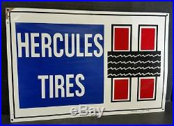 Vintage Advertising Tin Litho Hercules Tire, Oil, Gas Station Sign