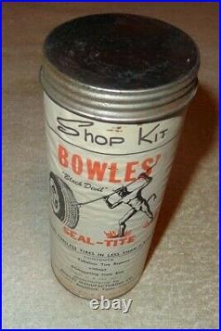 Vintage Antique Original Bowles Black Devil Metal Tubeless Tire Repair Gas Sign